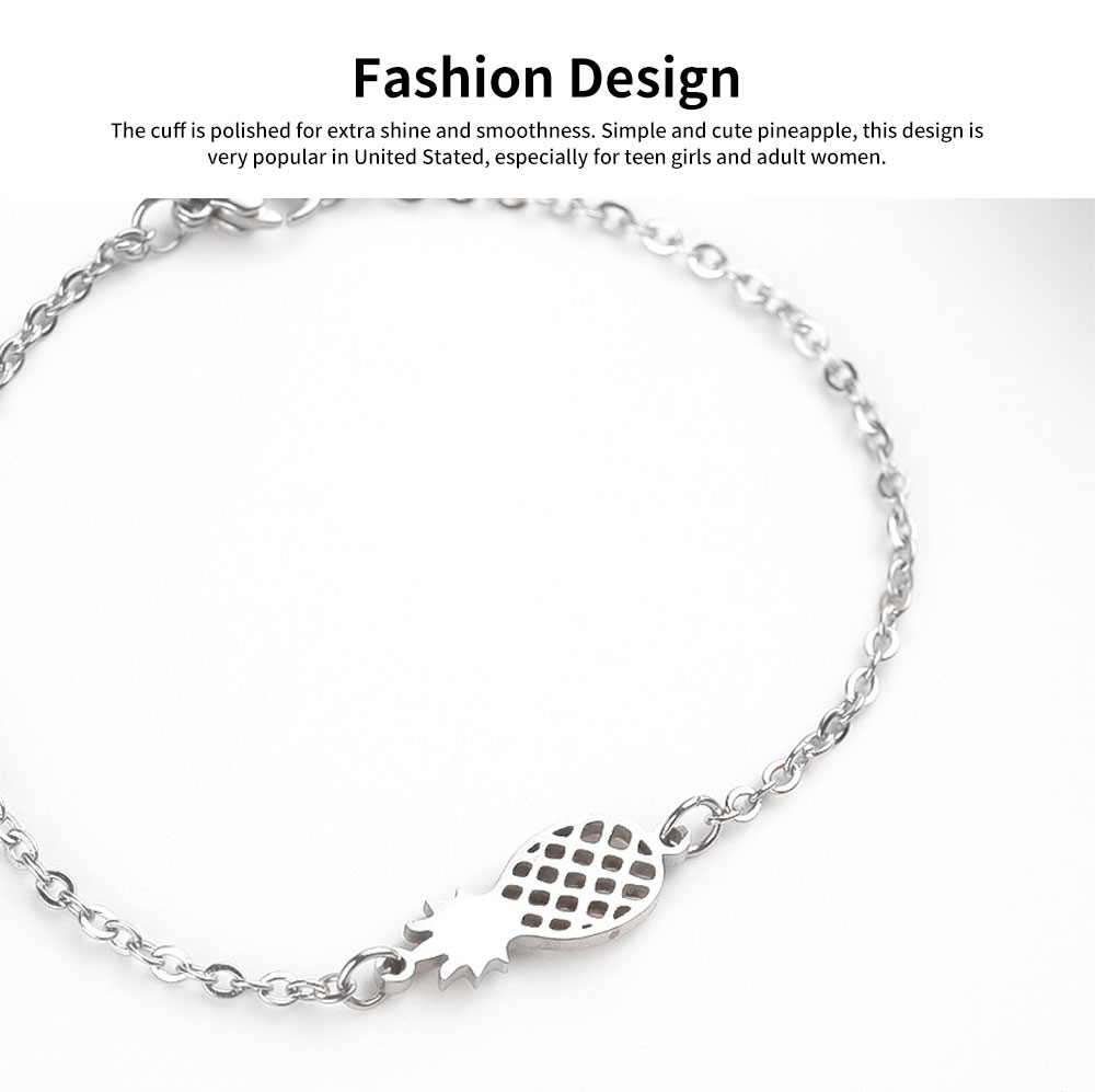 Women Bracelet Personalized Pineapple Pendant Plated Stainless Steel Bangle Fashion Jewelry Accessories Personality Thin Bracelets 4