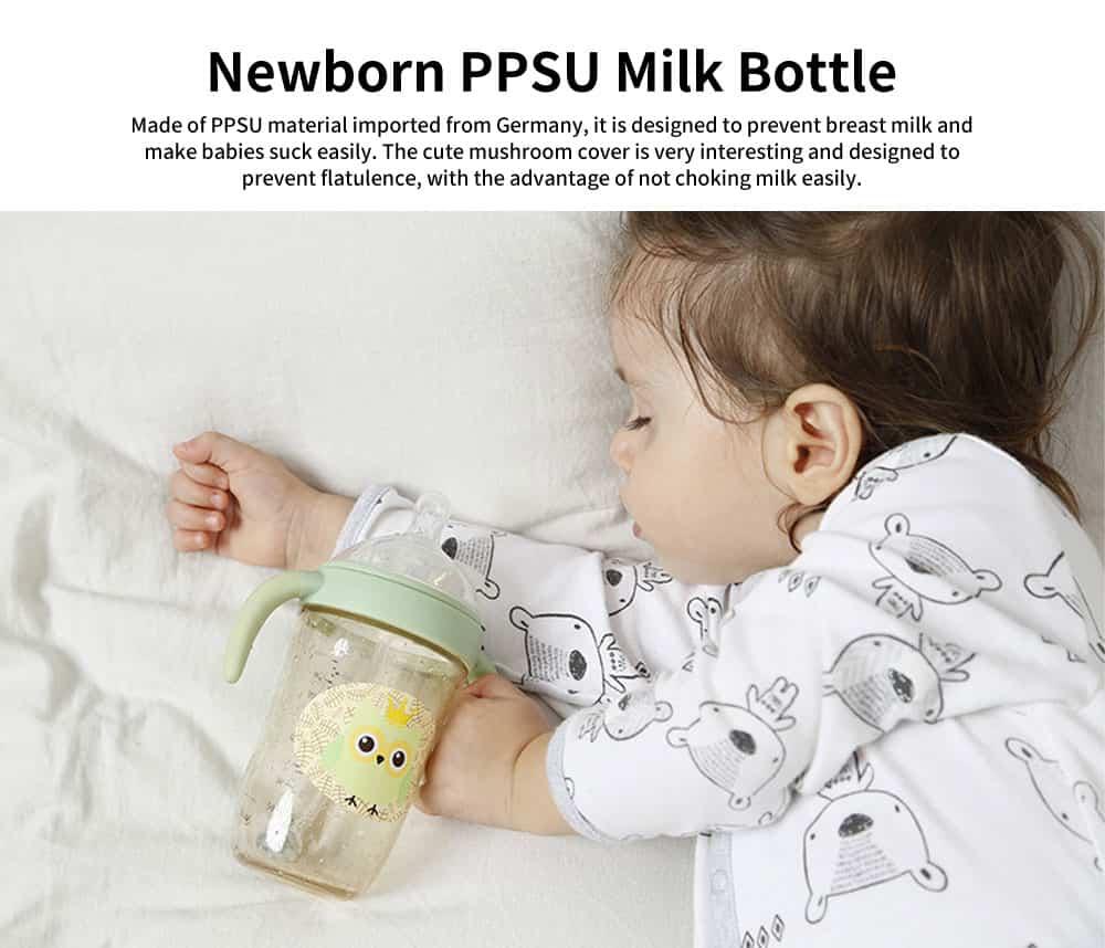 Newborn PPSU Milk Bottle, Anti Fall Wide Bore Baby Milk Bottle with Handle Straw, Baby Silicone Milk Bottle 270ML 0