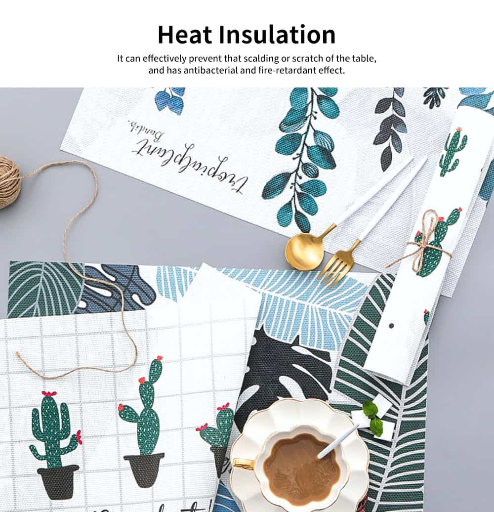 Tropical Plants Creative Bowl Dish Placemat Heat Insulation Waterproof Anti-scald Table Mat 3