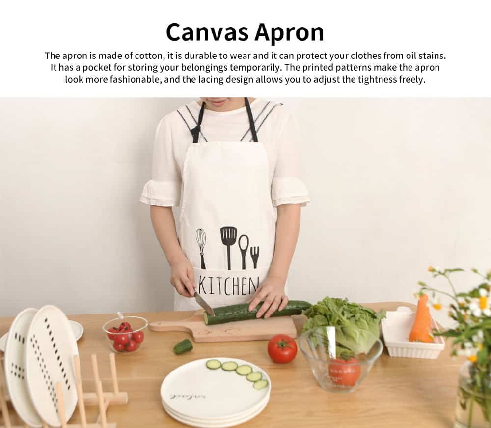 Canvas Apron with Original Design Printing Apron, Northern Europe Style Creative Cotton Apron for Kitchen Cooking Baking 0