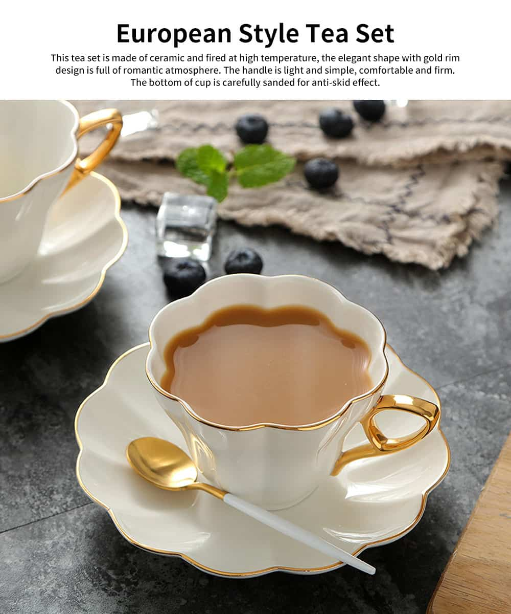 European Style Coffee Cup With Gold Rim China Coffee Cup and Saucer Set High Grade Simple Afternoon Flower Tea Set 1