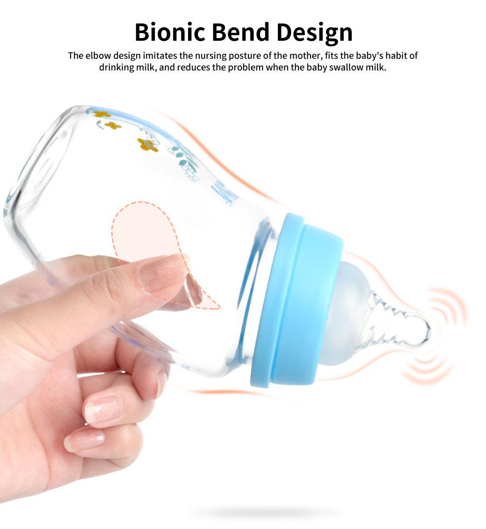Wide Mouth Cartoon Elbow Glass Bottle, Silicone Case Baby Bottle, Baby Anti-Flatulence Bottle, 240ml 5