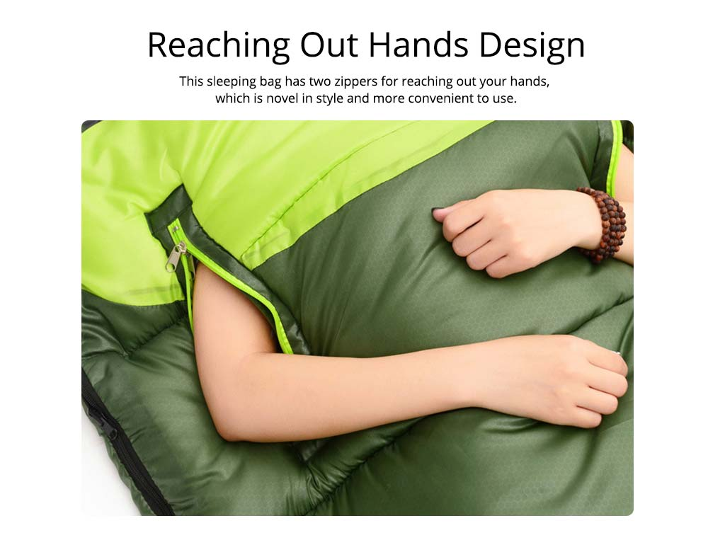 Outdoor Double Splicing Envelope Sleeping Bag for Camping, Thickened Cotton Warm Stretch Hand Sleeping Bag for Traveling Spring Autumn 1