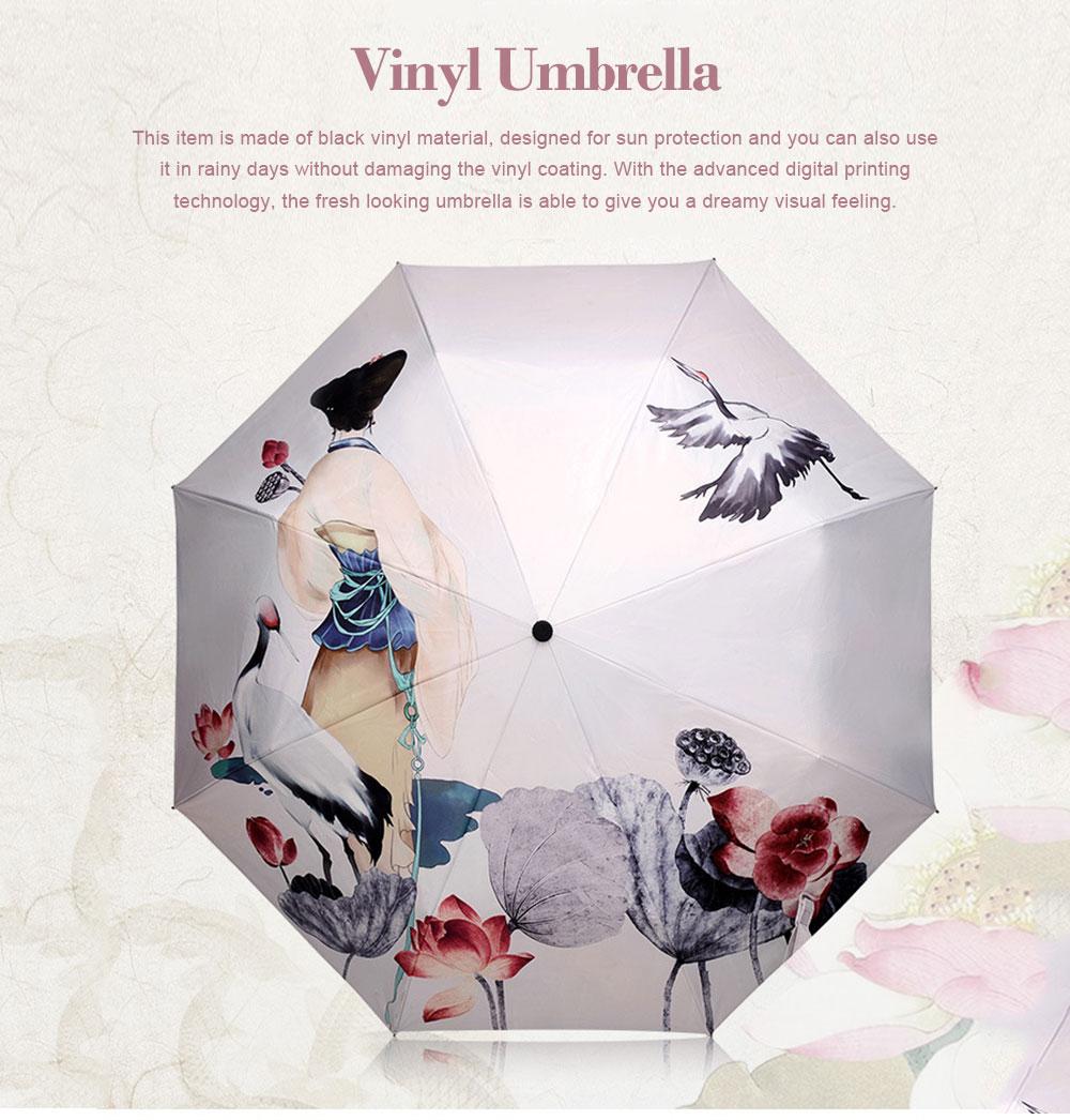 UV-proof Cartoon Umbrella for Both Sun and Rain, Creative 3 Folding Umbrella Allows for Customization 0