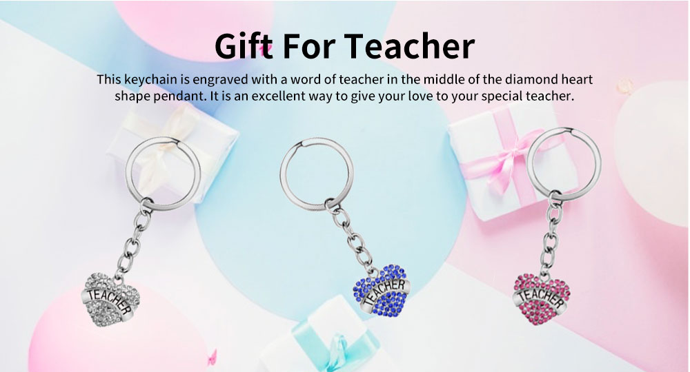 Fashionable Simple Keychain Plated Stainless Steel Pendant Key Ring Diamond Fashion Accessories Thanksgiving Gift For Teacher Instructor 2