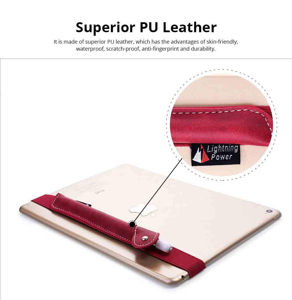 Durable PU Leather Protective Sleeve Pouch for Apple Pencil with Elastic Belt, Luxury Leather Cover Case Protector Sleeve 1
