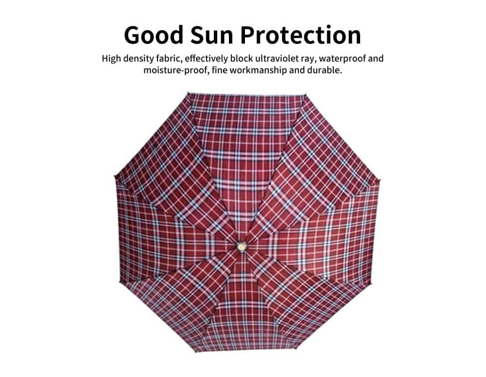 Reinforced Rain Dual-use Umbrella, Plaid Business Large Folding Umbrella, Men and Women in The Sun Umbrella 1