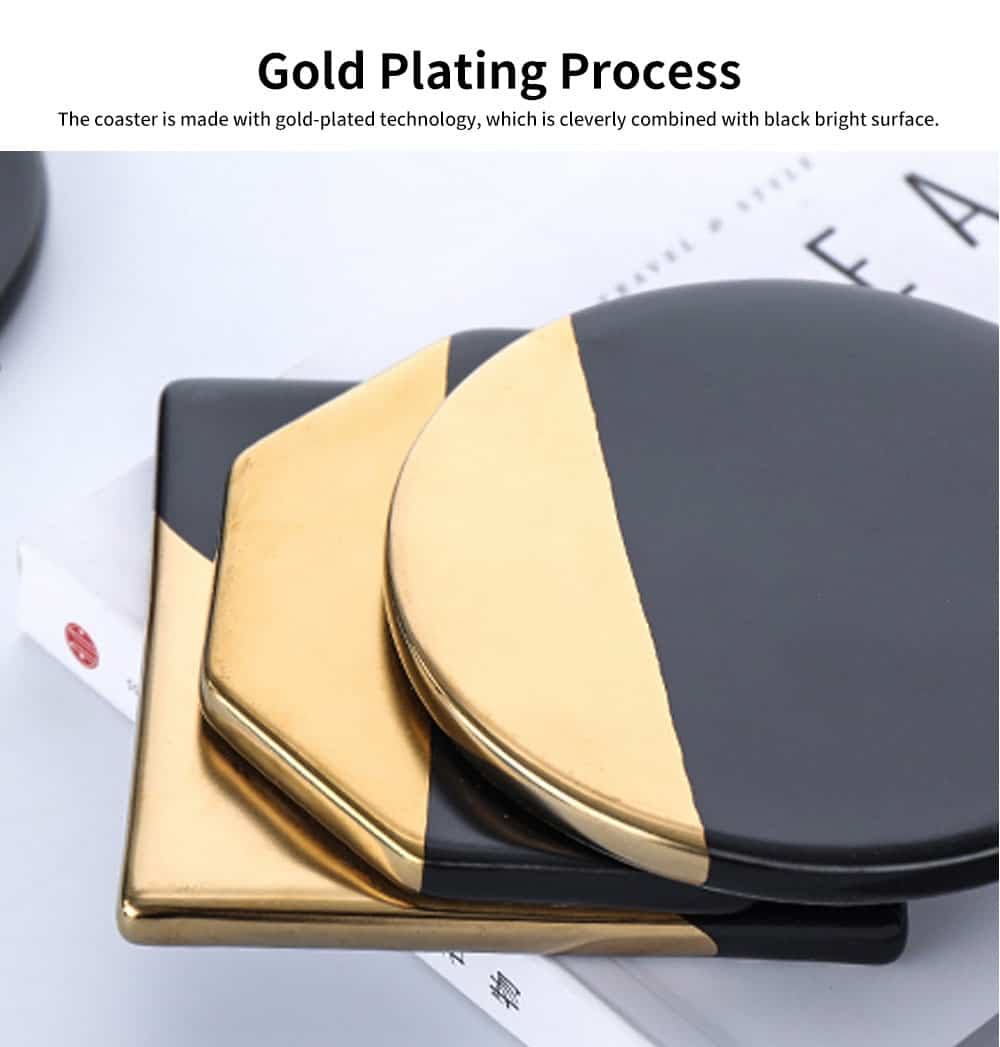 Gold Marble Coasters Ceramic Coaster Tea Cup Pad, Northern Europe Style Non-slip Heat Insulation Coaster for Household 3