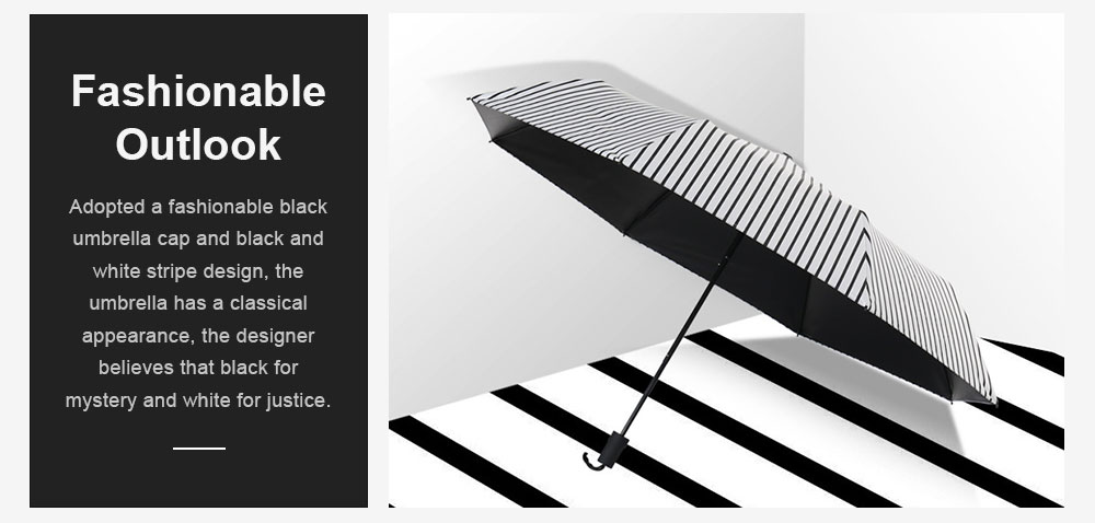 New Style Three Folding Umbrella Fashionable Black and White Stripe Vinyl Sun Protection Umbrella UV Proof 2019 4