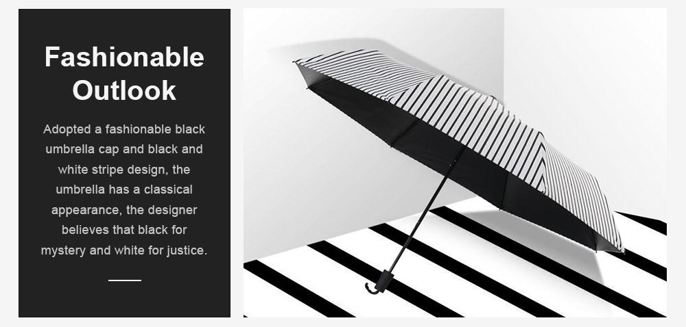New Style Three Folding Umbrella Fashionable Black and White Stripe Vinyl Sun Protection Umbrella UV Proof 2019 4