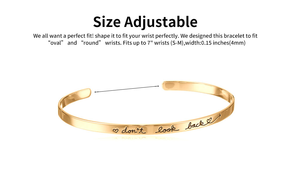 Simple Lettering Unisex Bracelet Plated Stainless Steel Bangle Fashion Jewelry Accessories Elegant Inspired Bracelets Best Gifts 3