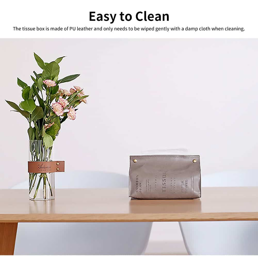 Instagram Hot Simple Style Tissue Box for Household Bedroom Living Room, PU Leather Napkin Storage Box Dust-proof Tissue Organizer 3