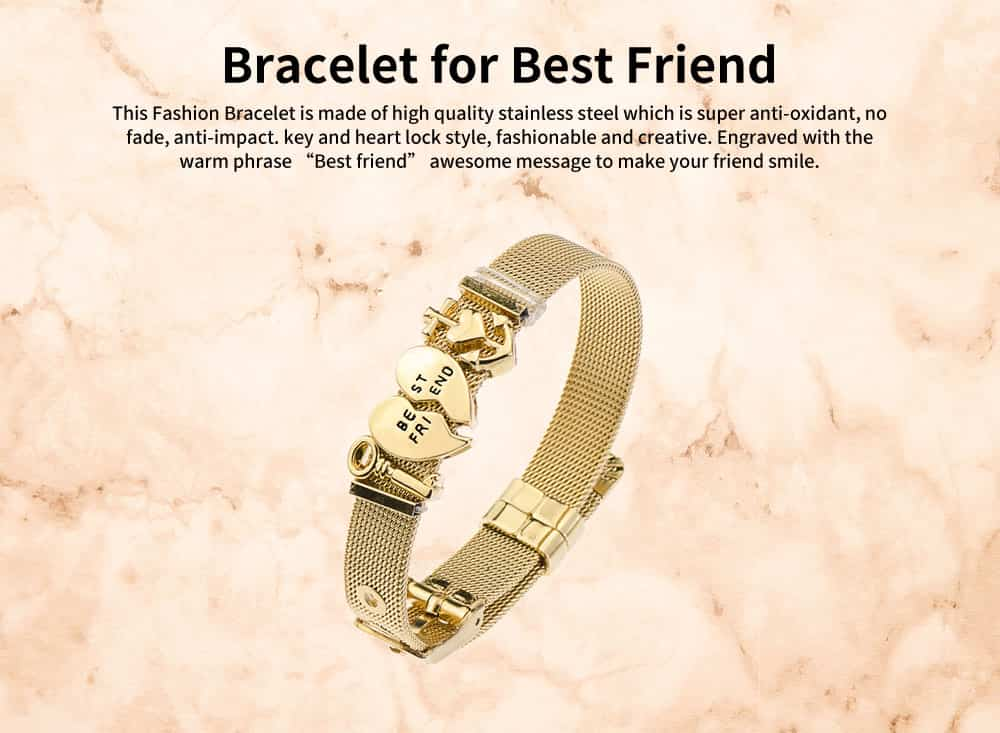 Simple Lettering Plated Stainless Steel  Bracelet, Elegant Relationship Bangle Mother's Day Valentine's Day Gifts 0