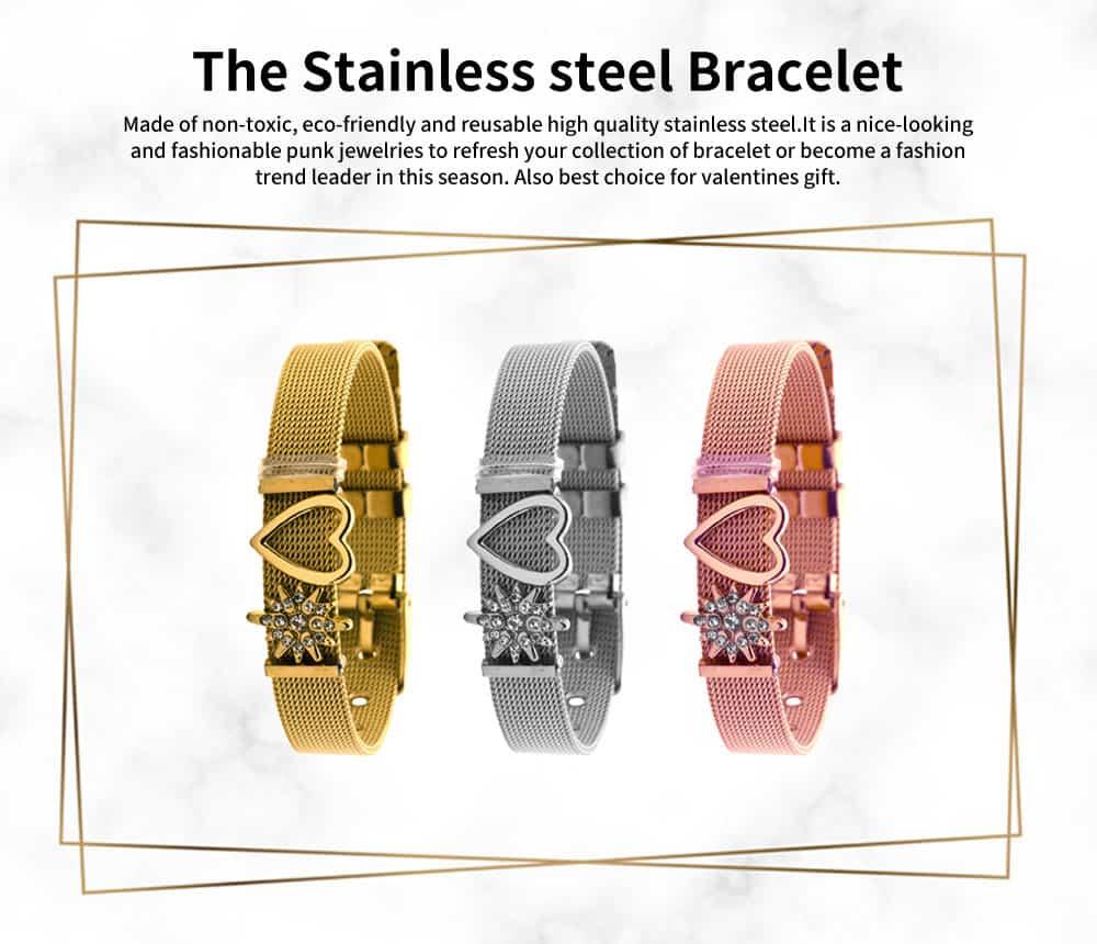 Heart Shaped Rhinestone Mesh Women's Bracelet, Plated Stainless Steel Creative Couple Bracelets Valentines Gift for Girlfriend 0