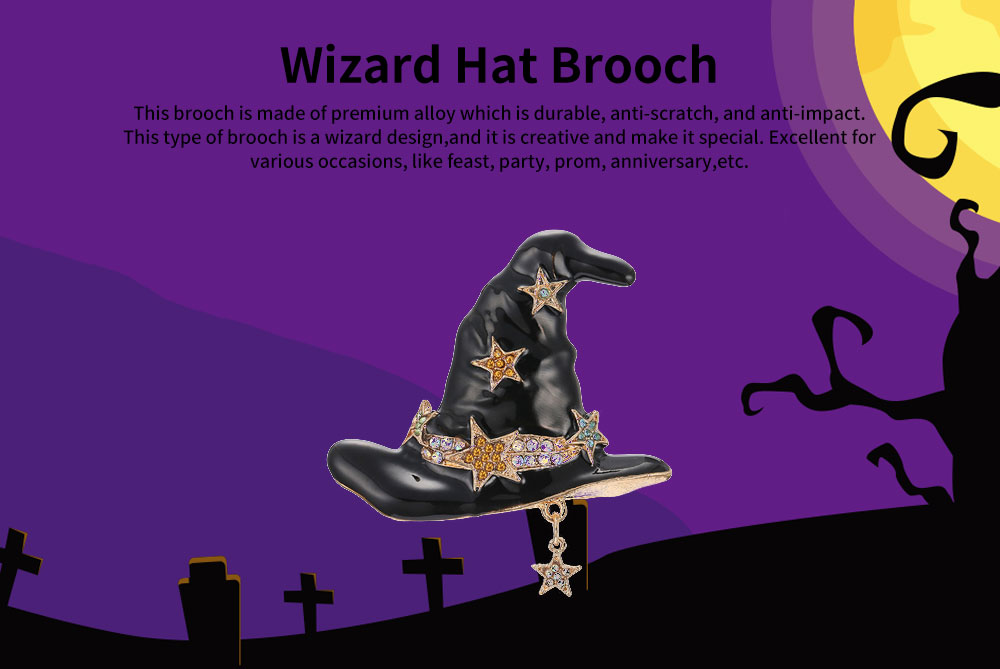 Women Brooch Creative Mini Wizard Hat Diamond Alloy Brooch Pin Lady Fashion Accessories Best Gift For Party Anniversary 0
