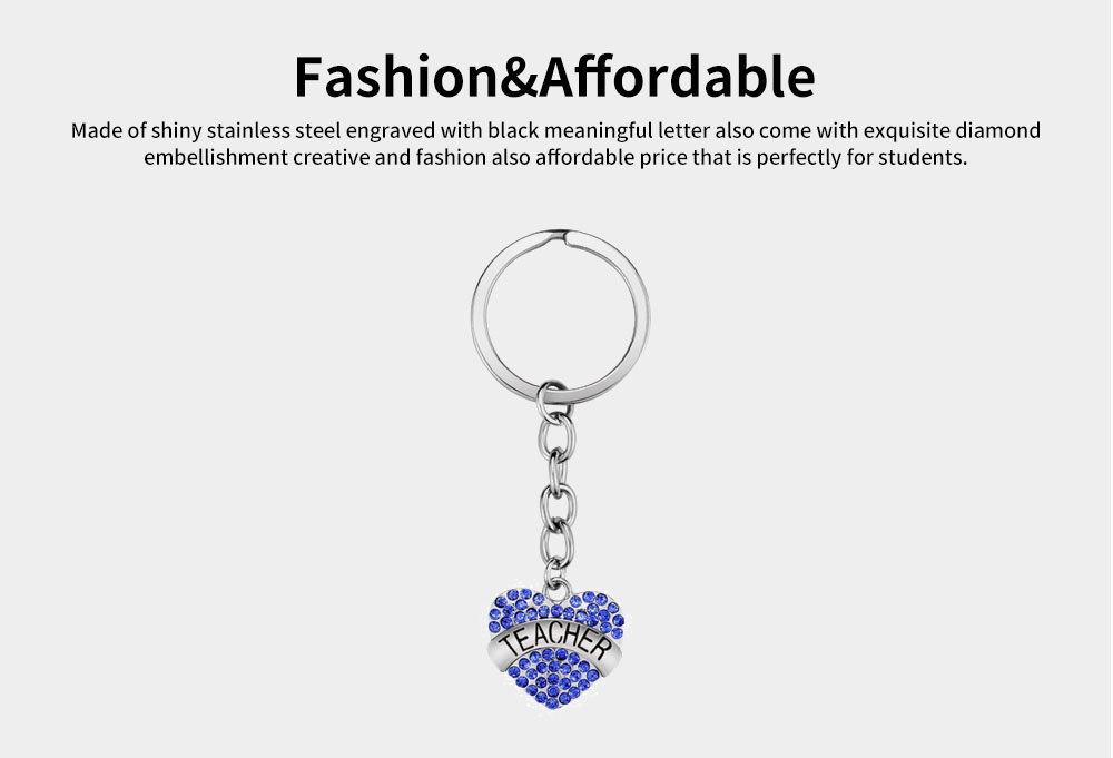 Fashionable Simple Keychain Plated Stainless Steel Pendant Key Ring Diamond Fashion Accessories Thanksgiving Gift For Teacher Instructor 11