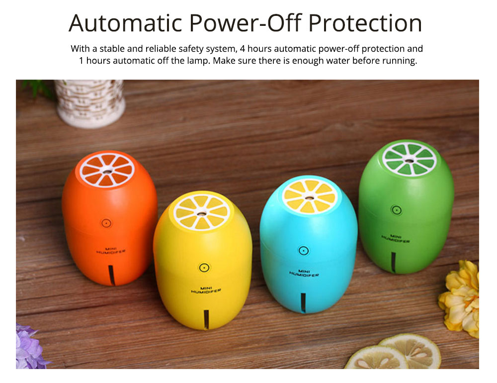 USB Oil Diffuser - Lemon LED Aroma Humidifier Air Aromatherapy - 4 Colors, 180ml 4