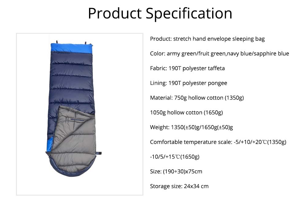 Outdoor Double Splicing Envelope Sleeping Bag for Camping, Thickened Cotton Warm Stretch Hand Sleeping Bag for Traveling Spring Autumn 6