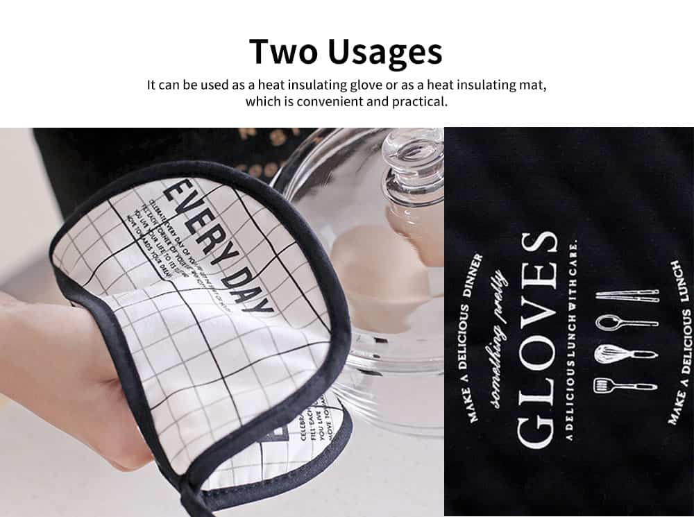 Double Use Heat Insulation Gloves Place Mat for Household, Northern Europe Style 2-in-1 Dirty Resistant Place Mat Heat Insulation Gloves 2