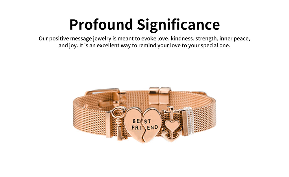 Simple Lettering Plated Stainless Steel  Bracelet, Elegant Relationship Bangle Mother's Day Valentine's Day Gifts 1