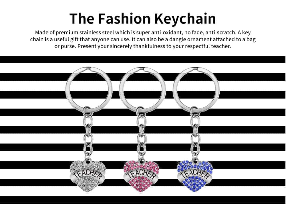 Fashionable Simple Keychain Plated Stainless Steel Pendant Key Ring Diamond Fashion Accessories Thanksgiving Gift For Teacher Instructor 6