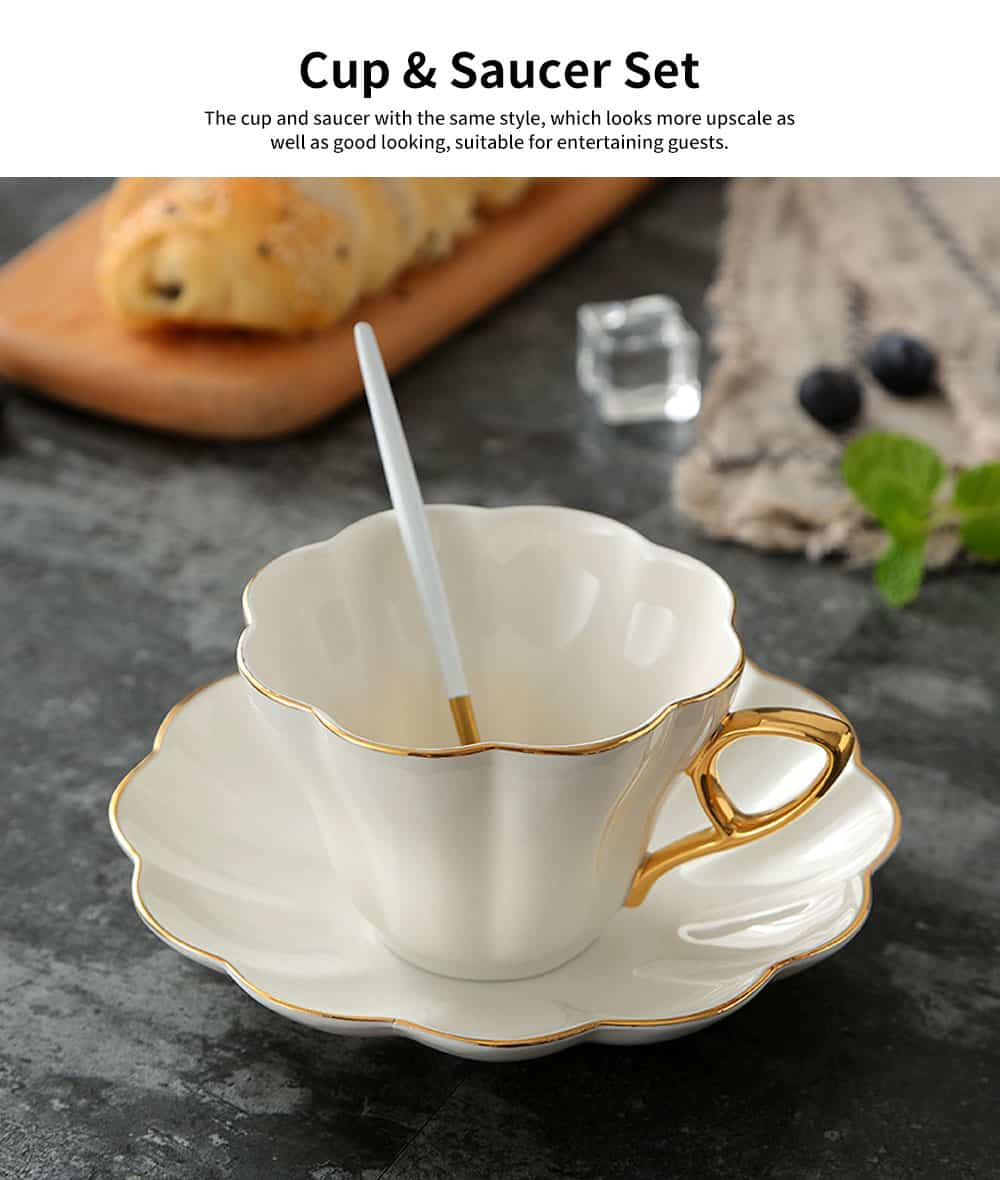 European Style Coffee Cup With Gold Rim China Coffee Cup and Saucer Set High Grade Simple Afternoon Flower Tea Set 6