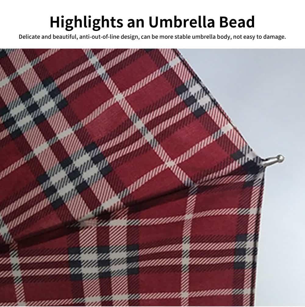 Reinforced Rain Dual-use Umbrella, Plaid Business Large Folding Umbrella, Men and Women in The Sun Umbrella 3