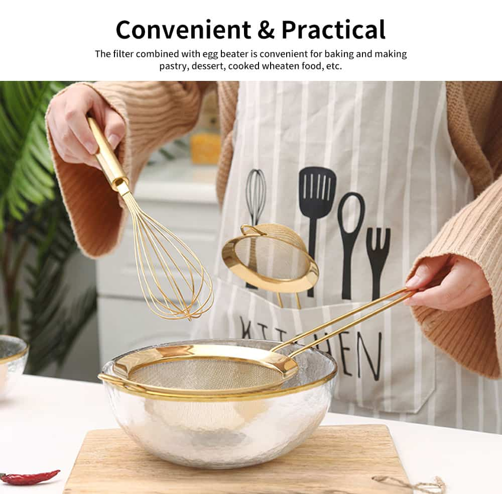 Stainless Steel Baking Cooking Utensils - Egg Beater, Whisk, Basting Brush, Juice Filter Scoop, Household Kitchen Bakeware 5
