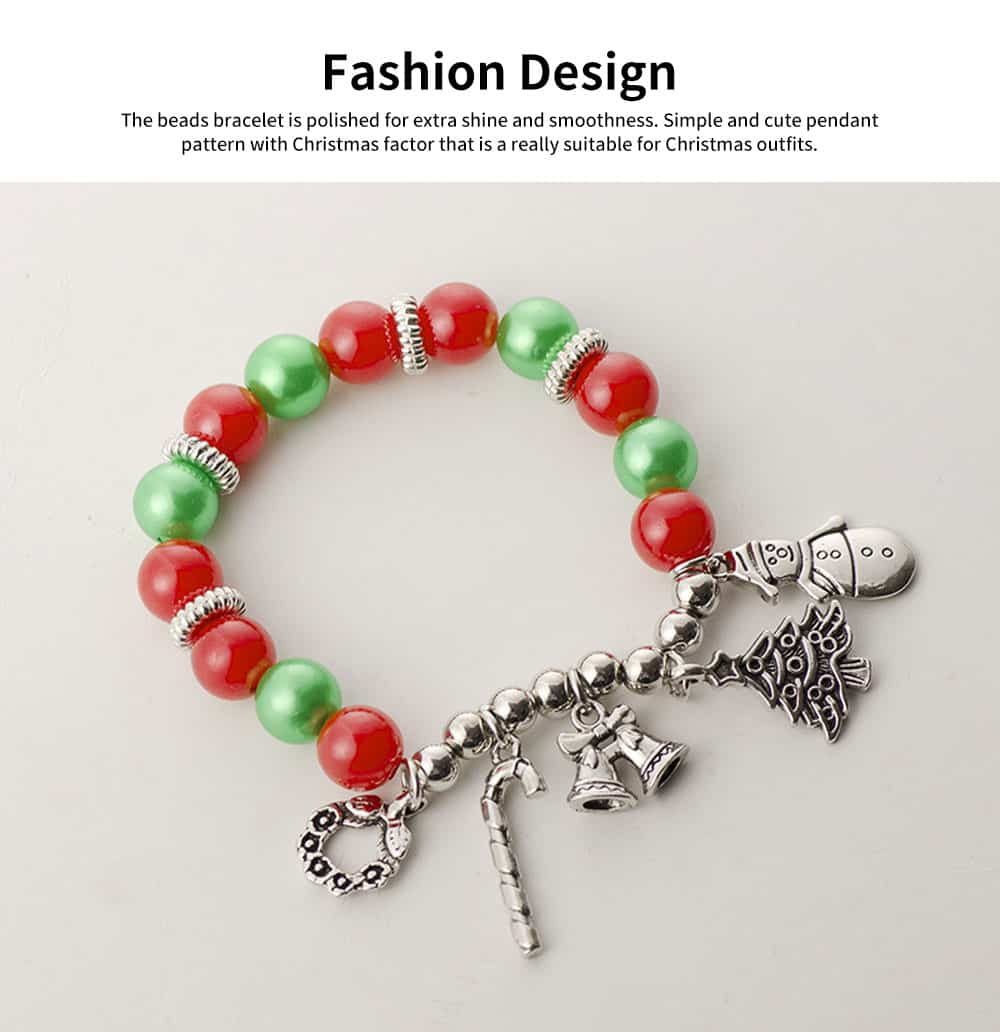 DIY Christmas Tree Snowman Bracelet Plated Stainless Steel & Alloy Beads Bangle Best Christmas Gift 4