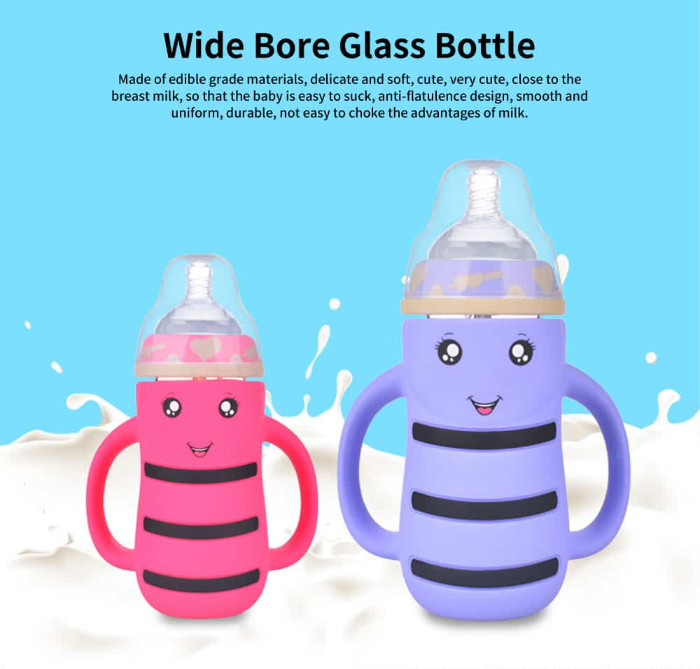 Baby Anti-flatulence Wide-bore Glass Bottle, Anti-drop with Straw Children's Drinking Bottle 0