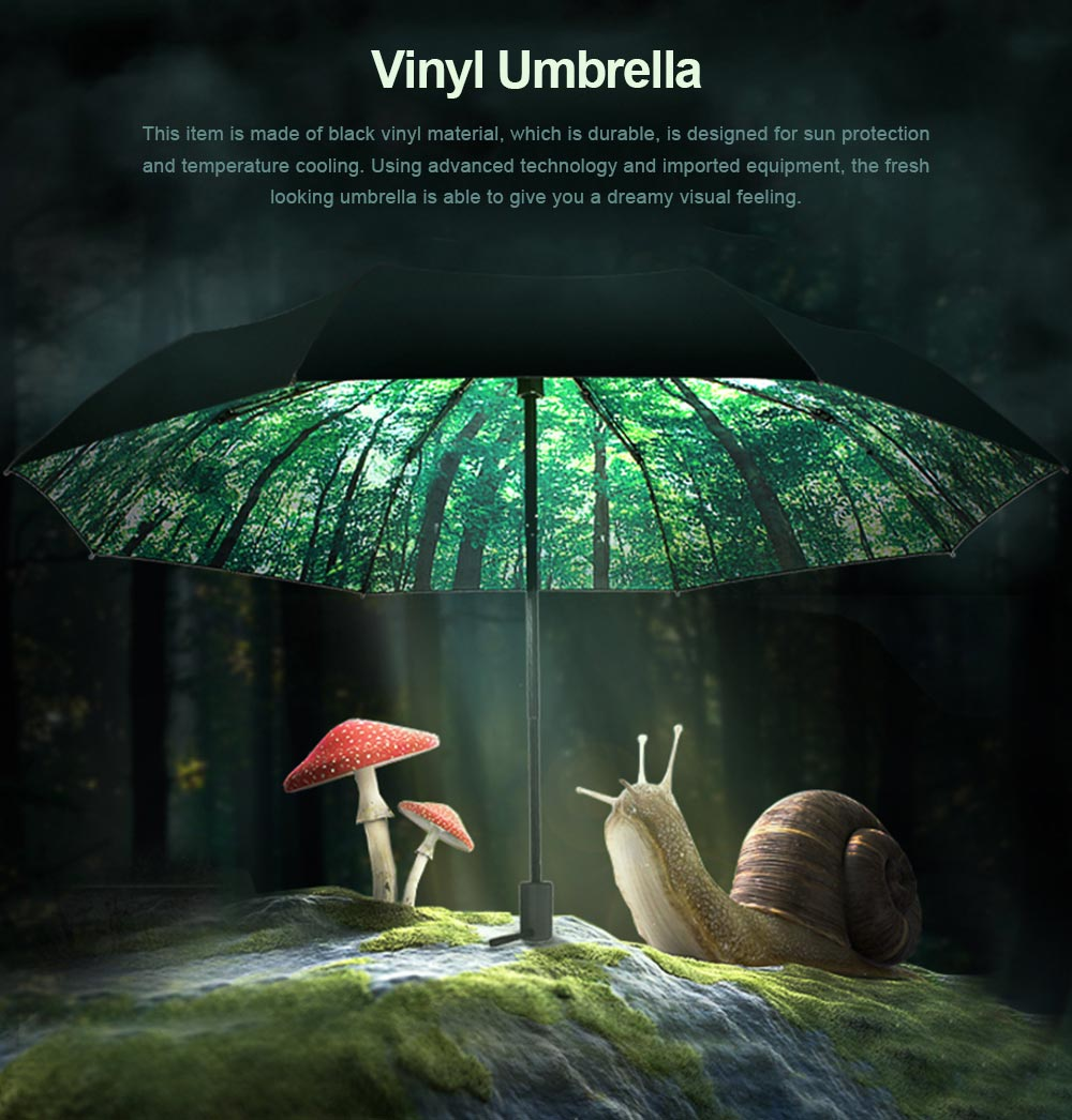 High Quality Small Size 3 Folding Umbrella, Fresh Looking Lady Travelling Girls Umbrella Both Sun and Rain 0