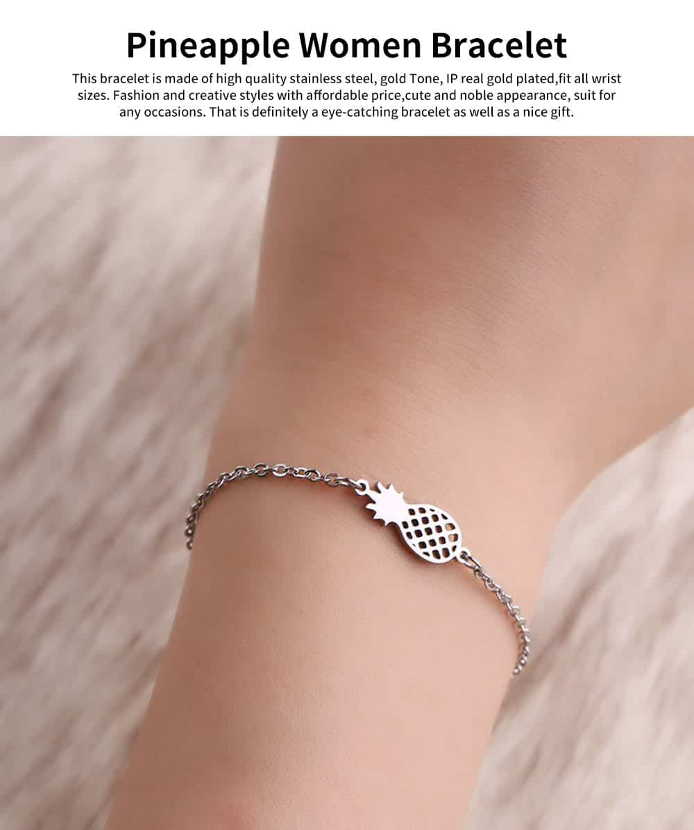 Women Bracelet Personalized Pineapple Pendant Plated Stainless Steel Bangle Fashion Jewelry Accessories Personality Thin Bracelets 0