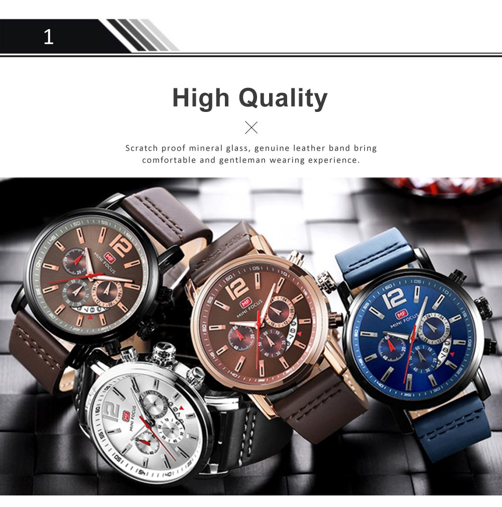 Men's Calendar Quartz Luminous Watch, Waterproof Sports Watch with Stylish Casual Leather Strap for Sport & Business Work 1