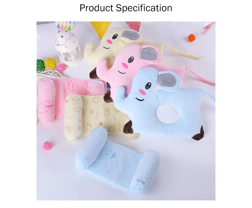 Flat Head Baby Pillows for Sleeping, Cartoon Adjusted Baby Pillow for Newborn Prevent Flat Head 12
