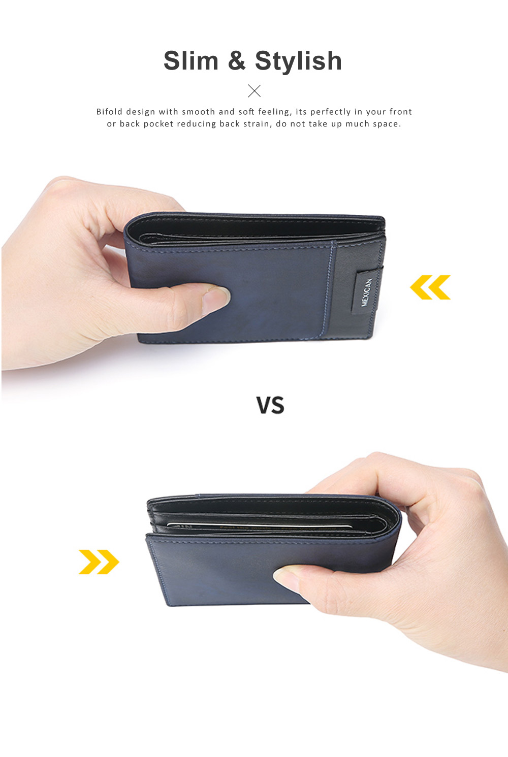 RFID Blocking Slim Bifold Retro Money Clip, Leather and Polyester Credit Card Wallets Gifts for Men 1