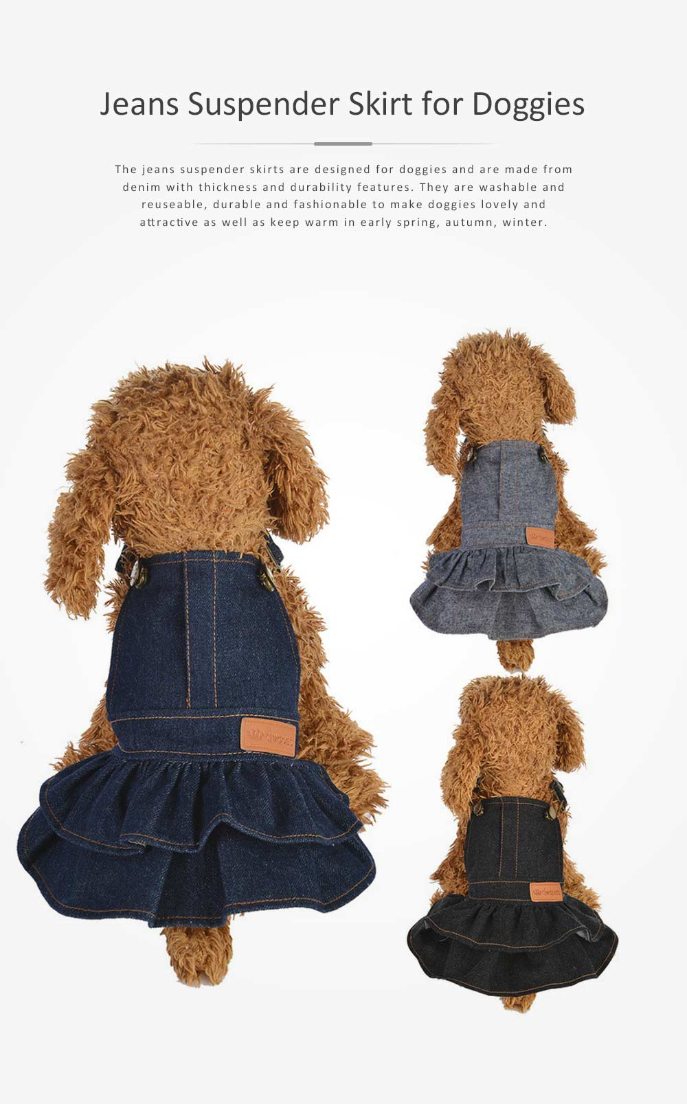 Jeans Suspender Skirt for Dogs New-style Pet Clothes in 2019 Used During Autumn and Winter Dog Clothes 0