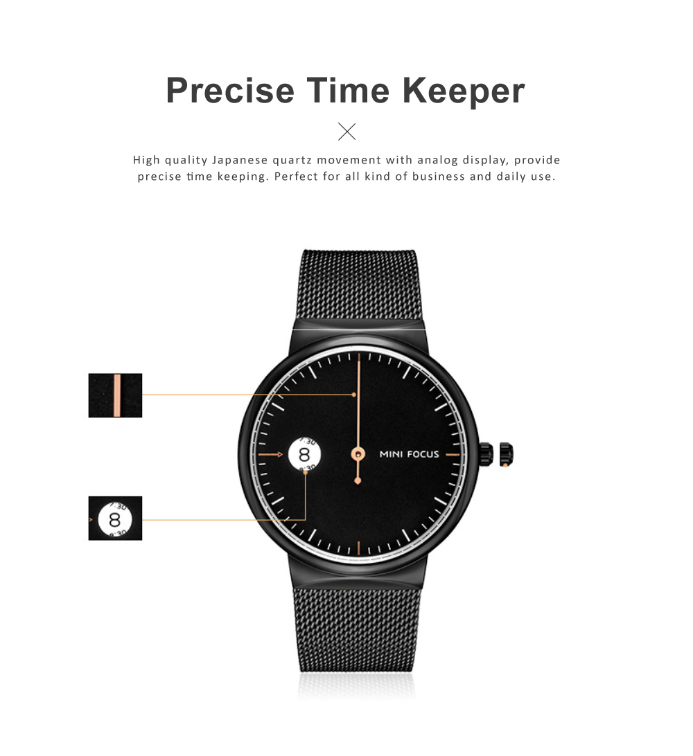 Men's Watch Fashion Calender Quartz Dail Stainless Steel Mesh Band Waterproof Wrist Watch for Gifts 3
