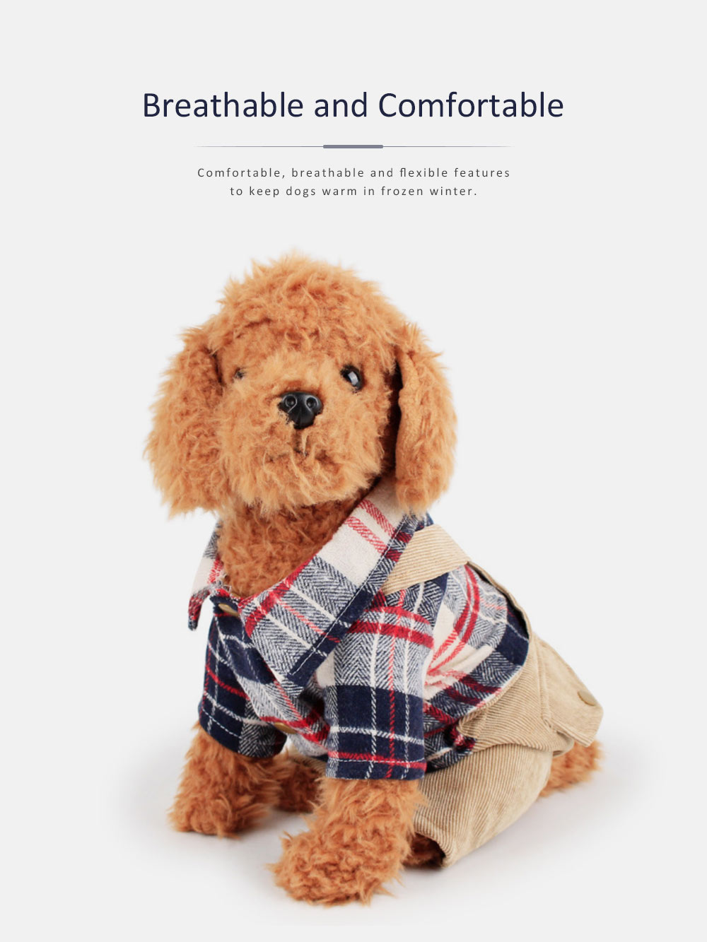 Bib Pants Check Corduroy Suspender Trousers, Casual Style Hawoo Trousers with Braces for Pets Stock Wholesale Pet Clothes 4