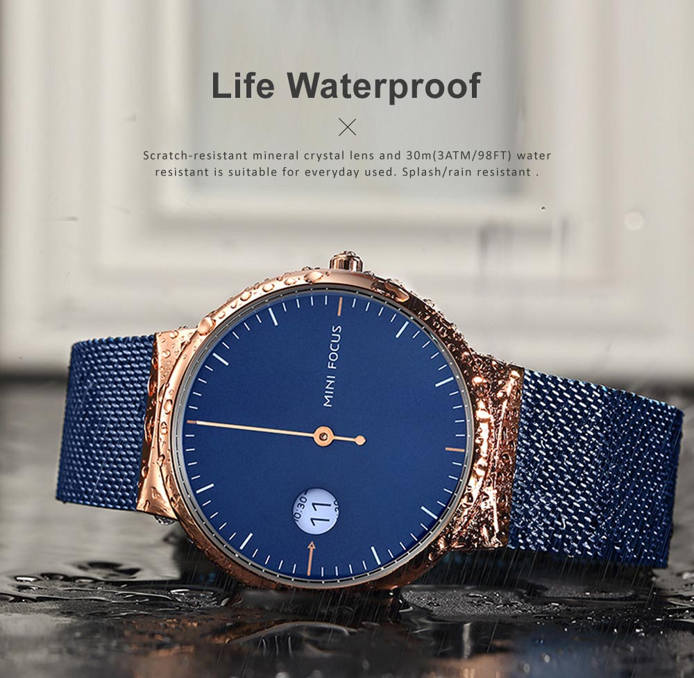 Men's Watch Fashion Calender Quartz Dail Stainless Steel Mesh Band Waterproof Wrist Watch for Gifts 2