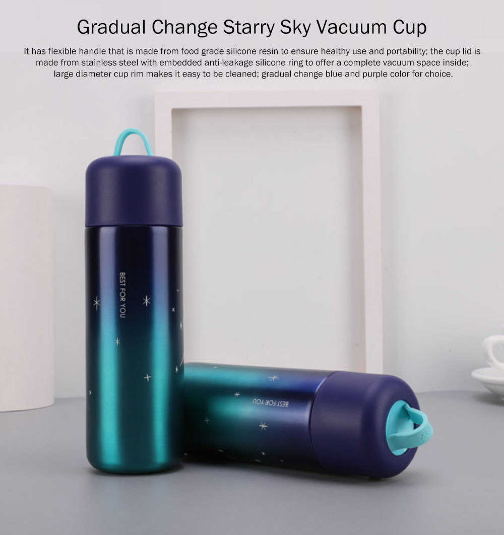 Stylish Fresh Color Vacuum Cup, Therapy Thermo Jug for Hot Water, Gradual Change Starry Sky Vacuum Cup for Students 0