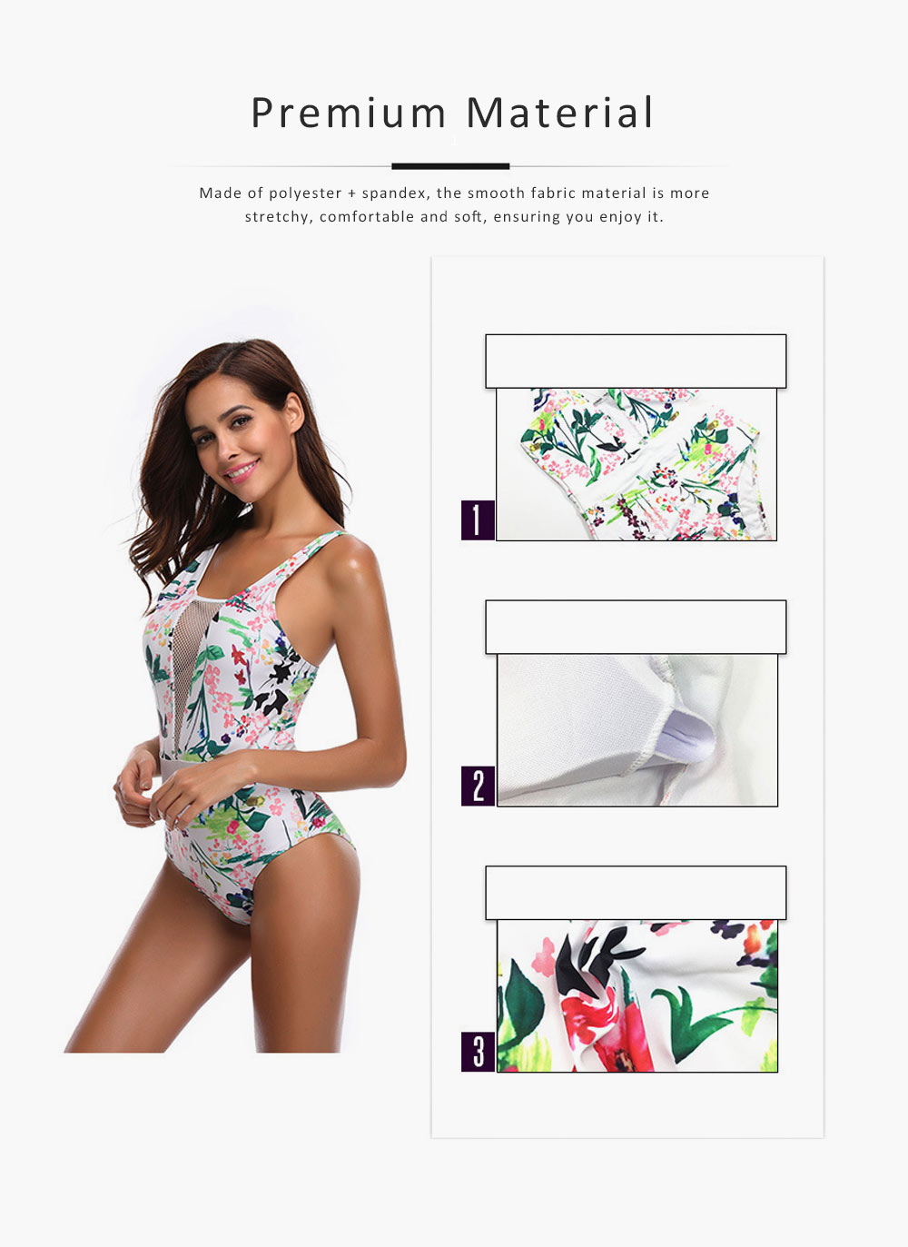 Womens One Piece Swimsuits Mesh V Neck Monokini Bathing Suits Tummy Control Floral Printed Swimwear 2
