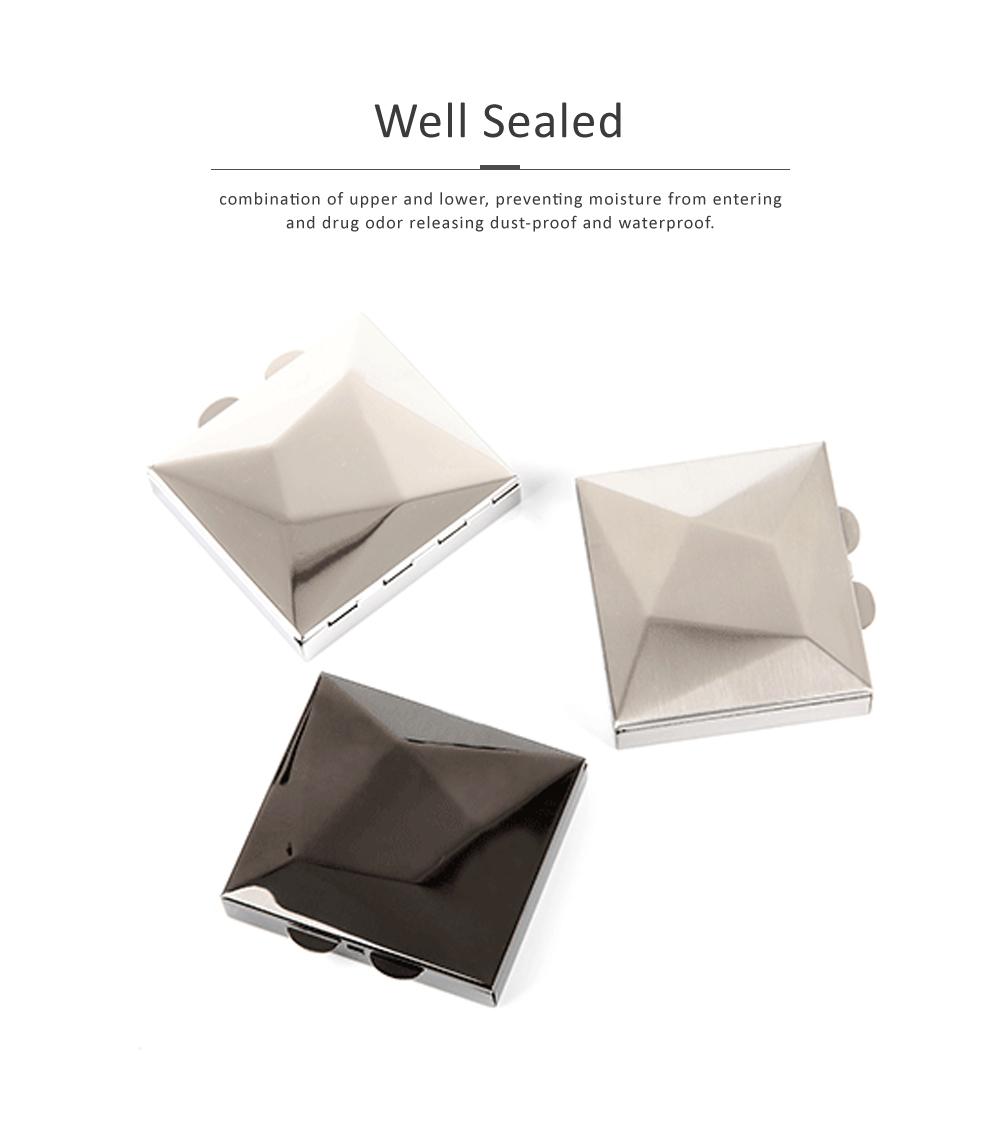 Square Pill Box Fashion Metal Diamond Stainless Steel Pill Case Quartile Pill Organizer Portable Tablet Holder 3