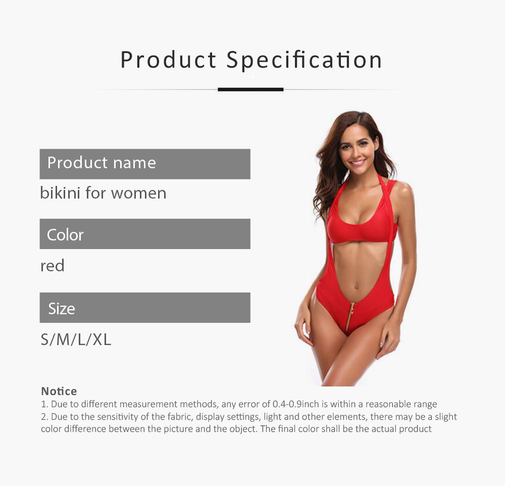 Women's Swimsuit Zipper Front High Waist High Cut Two Piece Bikini Sets Fashion Sexy Beachwear 6