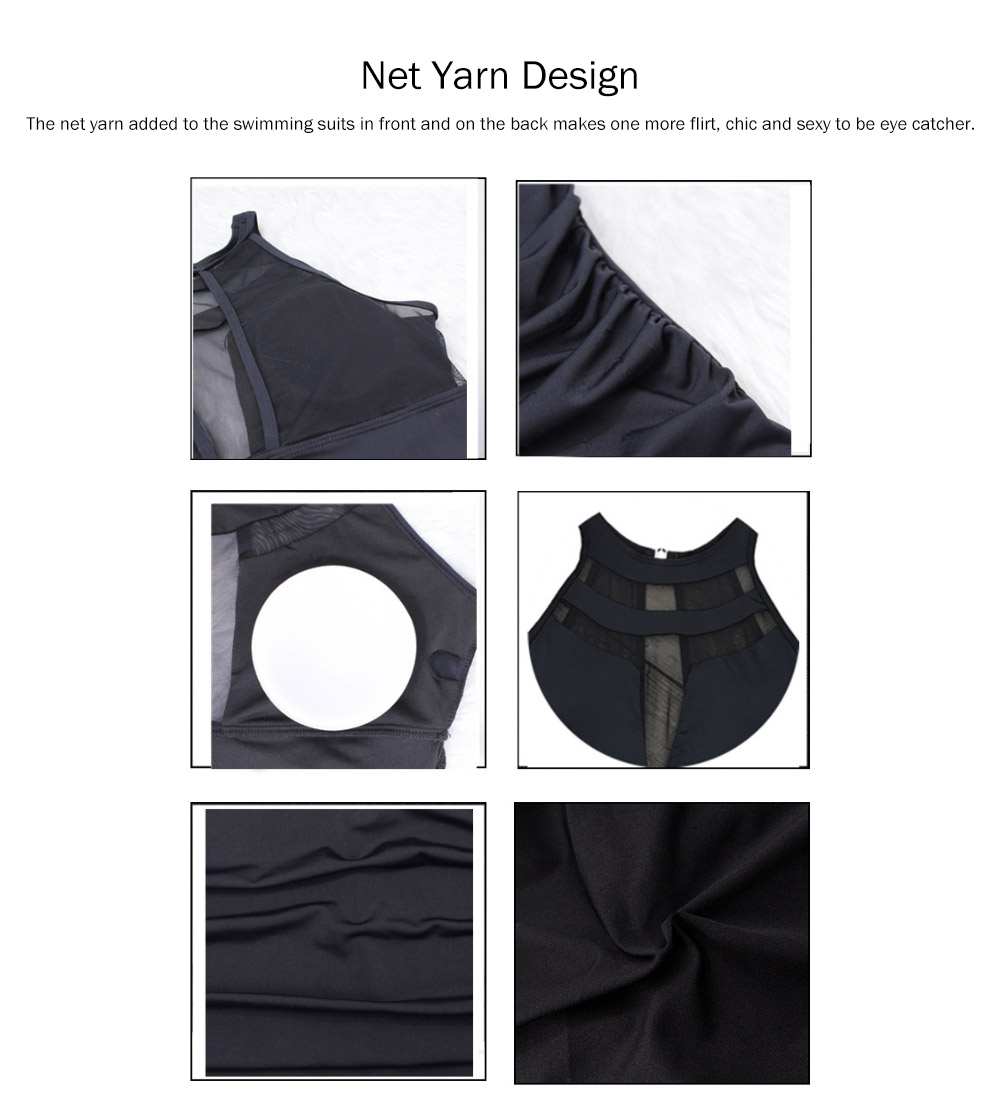 One-Piece Swimsuits Girls Net Yarn Swimsuit Lady Wear Black Sexy Swimming Suit Cover Ups for Women 3