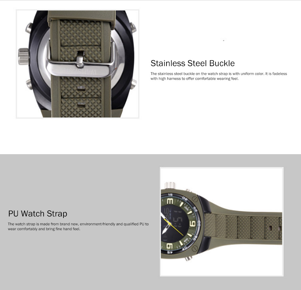 Dual Display Classics Watches for Men, Fashionable Male Watch Large Dial Plate Watches with Silicone Strap 2