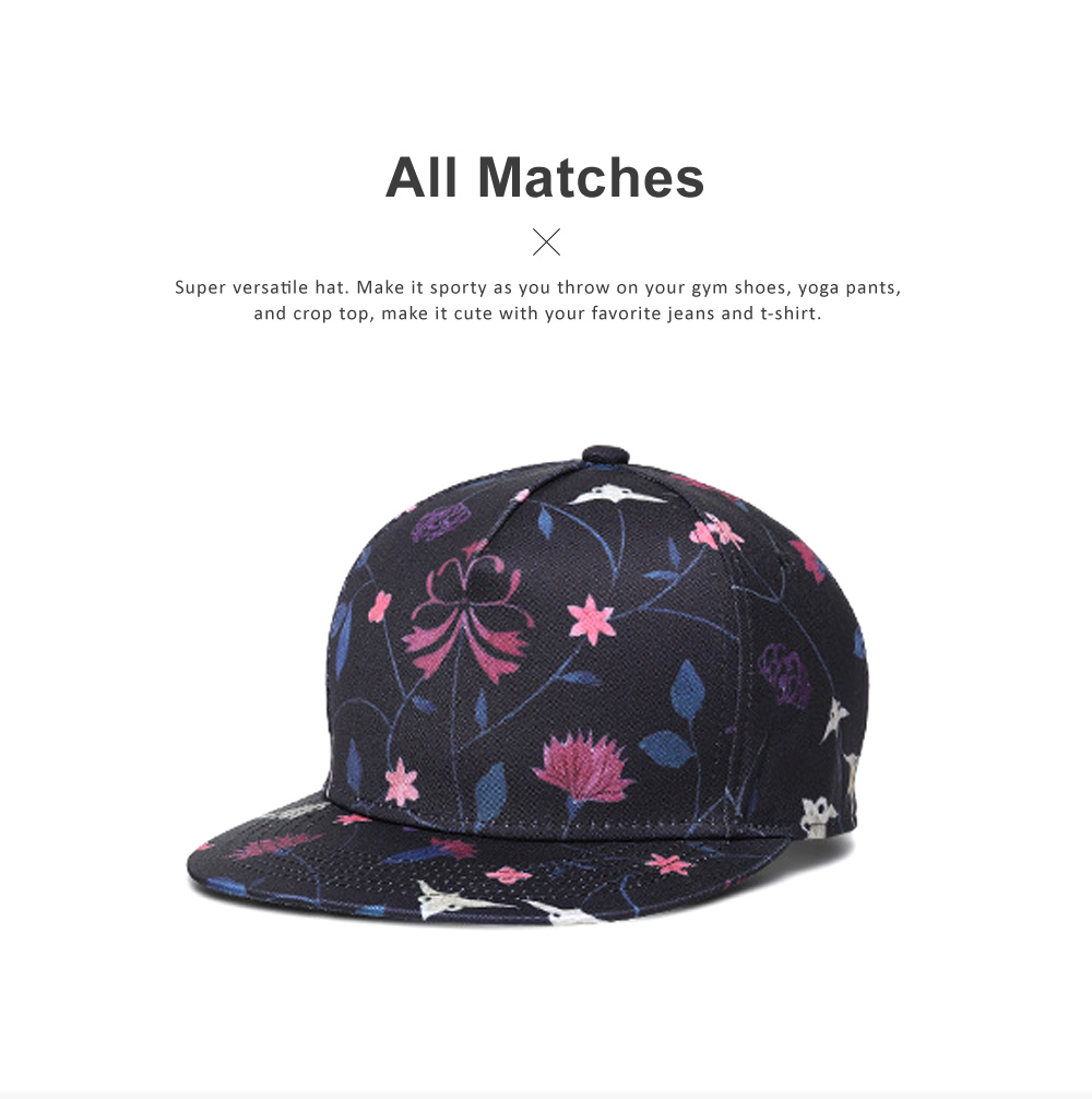 Unisex Baseball Hat Cotton Breathable Floral Print Trucker Hat Snap Back Hip Pop Baseball Caps for Gifts Fitness Running 1