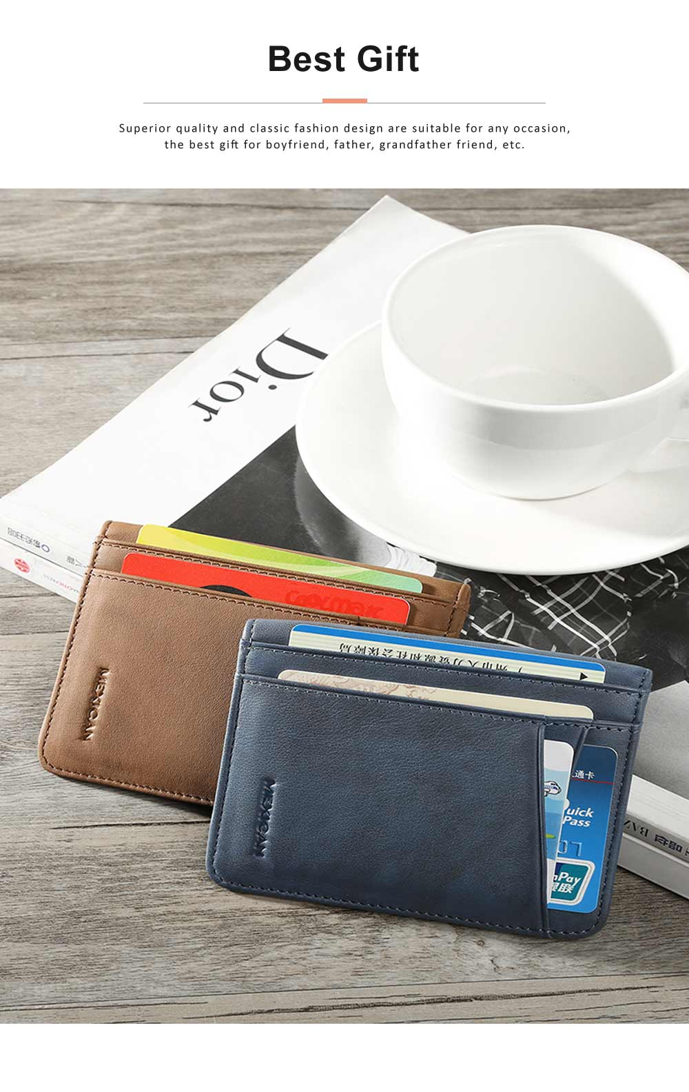 Men's Wallet Genuine Cowhide Leather Extra Capacity Bifold Wallets Slim Top Flip Money Clip Gifts for Men 4