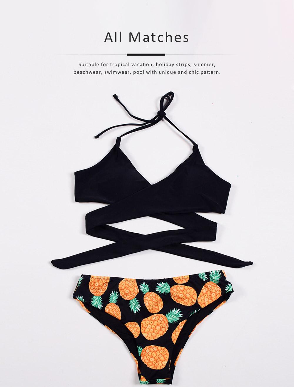 Women's Swimwear V-Neck Sexy Padded Halter Bandage Bikini Two Piece Swimsuits High Waist Bathing Suit 2
