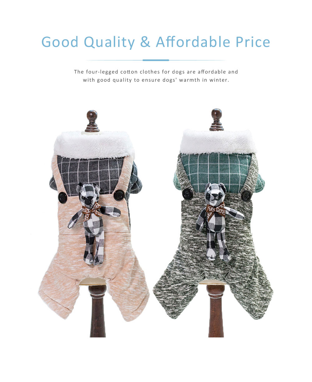 Thickened, Warm Cotton Clothes for Dogs in Winter, New-style Plaid Rabbit Four-legged Dog Clothes with Suspenders, Small Size 3