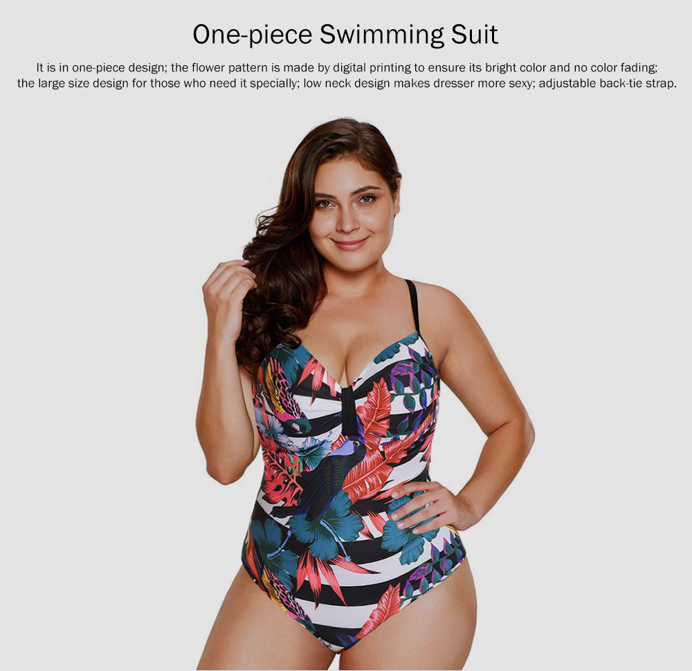 Large Size One-piece Swimming Suit for Women, Digital Printing Flower Patterns One-piece Swimsuits, Top-selling 0